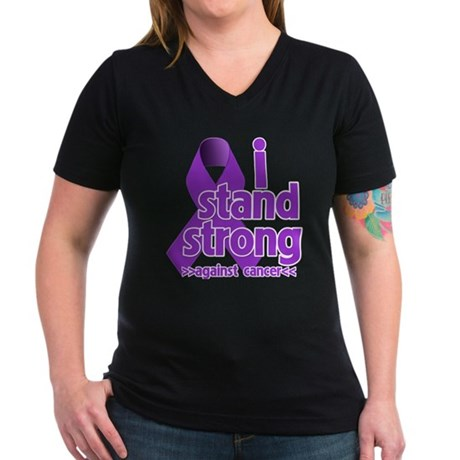I Stand Pancreatic Cancer Women's V-Neck Dark T-Sh
