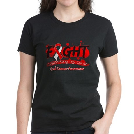Fight Oral Cancer Cause Women's Dark T-Shirt