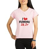 I heart (love) running 26.2+ Performance Dry T-Shi