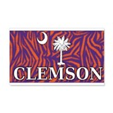 Clemson Tiger Print Flag 22x14 Wall Peel