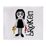 Broken Goth Doll Throw Blanket