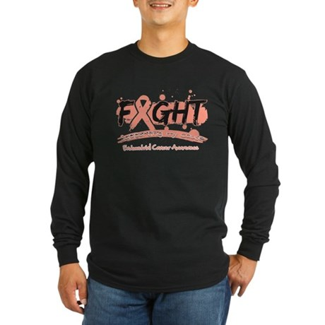 Fight Endometrial Cancer Long Sleeve Dark T-Shirt