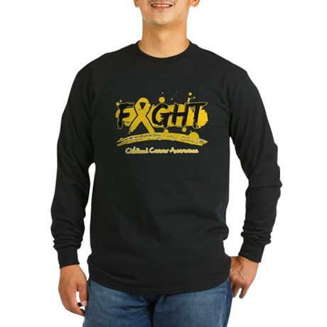Fight Childhood Cancer Cause Long Sleeve Dark T-Sh