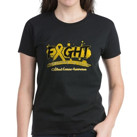 Fight Childhood Cancer Cause Women's Dark T-Shirt