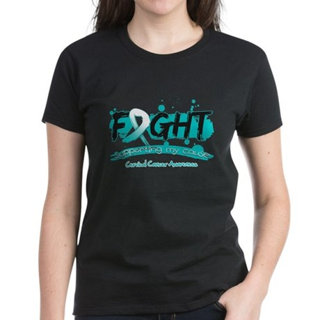 Fight Cervical Cancer Cause Women's Dark T-Shirt