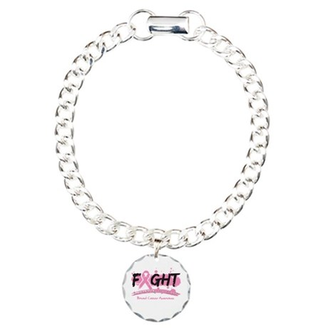 Fight Breast Cancer Cause Charm Bracelet, One Char