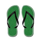 Green Knit Embroidery Flip Flops