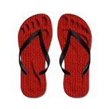 Red Knit Footprints Flip Flops