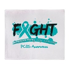 Fight PCOS Awareness Cause Throw Blanket