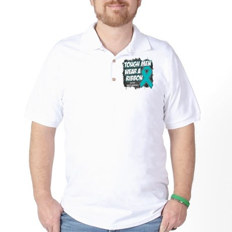 Ovarian Cancer ToughMenWearRibbon Golf Shirt