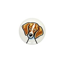 Red White Beagle Face Mini Button
