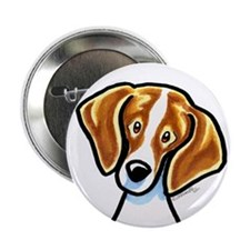 "Red White Beagle Face 2.25"" Button"
