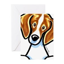 Red White Beagle Face Greeting Cards (Pk of 10)