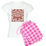 Red Damask Retro Women's Light Pajamas