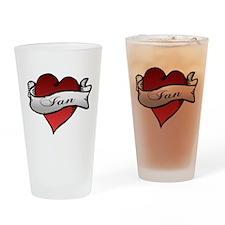 Ian Tattoo Heart Drinking Glass