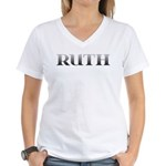 Ruth Carved Metal Women's V-Neck T-Shirt