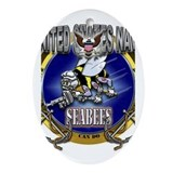 US Navy Seabees Anchors Ornament (Oval)