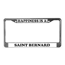 Happiness Is A Saint Bernard License Plate Frame
