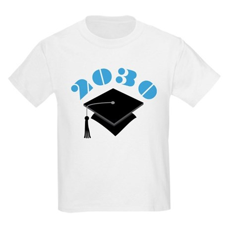 Blue 2030 Graduation Hat Logo Kids Light T-Shirt