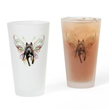 Pit Bull Butterfly Art Drinking Glass