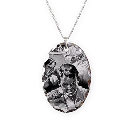 Retro Dental Prints Necklace Oval Charm