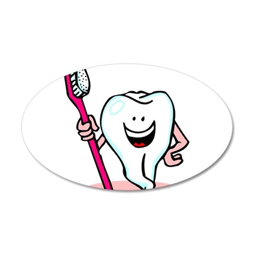 Happy Tooth & Brush 38.5 x 24.5 Oval Wall Peel