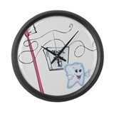 Healthy Tooth Brush and Floss Large Wall Clock