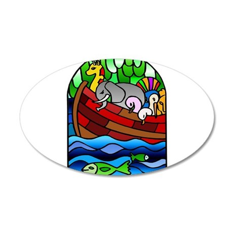 Noah's Ark Stained Glass 22x14 Oval Wall Peel