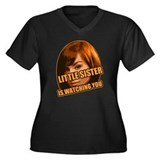 Little Sister Women's Plus Size V-Neck Dark T-Shir