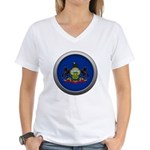 Round Flag - Pennsylvania Women's V-Neck T-Shirt