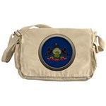 Round Flag - Pennsylvania Canvas Messenger Bag
