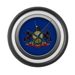 Round Flag - Pennsylvania Large Wall Clock