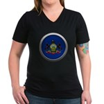 Round Flag - Pennsylvania Women's Dark V-Neck T-Shirt