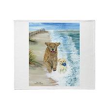 Golden Surf Dogs Throw Blanket