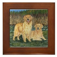 Golden Marsh Pair Framed Tile