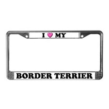 I Heart My Border Terrier License Plate Frame