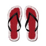 Red Knit Trimmed in White Fur Flip Flops