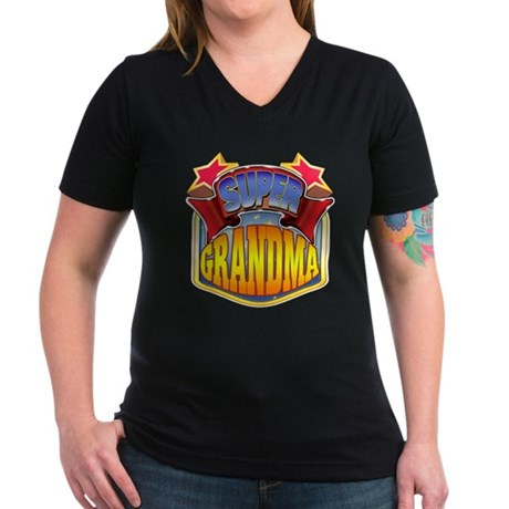Super Grandma Women's V-Neck Dark T-Shirt