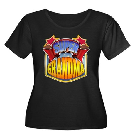 Super Grandma Women's Plus Size Scoop Neck Dark T-