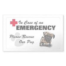 Please Rescue Pug Rectangle Decal