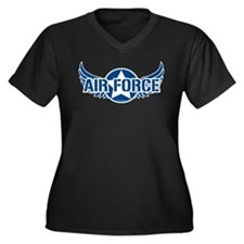 Air Force Wings Women's Plus Size V-Neck Dark T-Sh