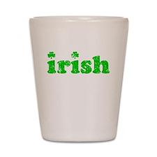 Irish dbl shamrocks Shot Glass