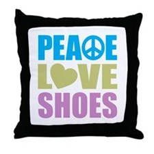 Peace Love Shoes Throw Pillow
