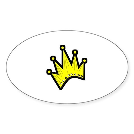 Gold Crown Oval Sticker