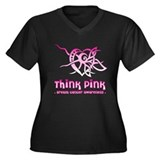 THINK PINK I Women's Plus Size V-Neck Dark T-Shirt