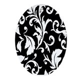 BLACK AND WHITE DAMASK Ornament (Oval)