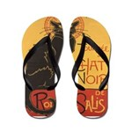 Le Chat Noir (the Black Cat) Flip Flops