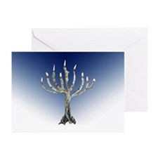 Branch Menorah Blue Greeting Cards (Pk of 10)