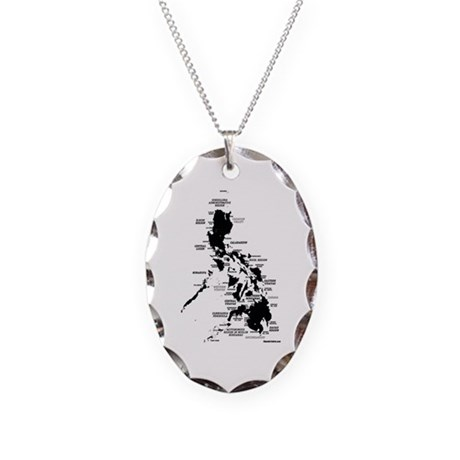 Philippines Rough Map Necklace Oval Charm