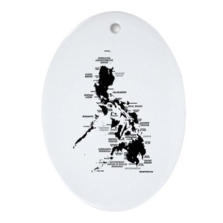 Philippines Rough Map Ornament (Oval)